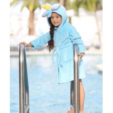 Детский халат кигуруми Единорог Голубой